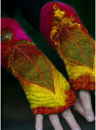 Floral/Stitching/Leaves Colorful/Leaves Shaped/Women's Gloves