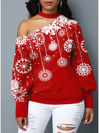 Floral Print One Shoulder Long Sleeves Christmas Plus Size Blouses