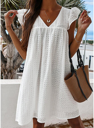 Solid/Hollow-out Cap Sleeve Shift Above Knee Casual Dresses