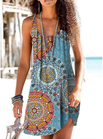 Print/Floral Sleeveless Sheath Above Knee Sexy/Vacation Tank Dresses