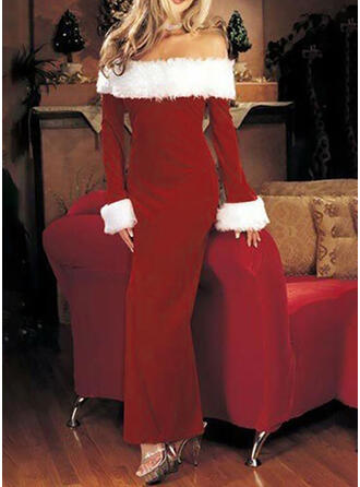 Solid Long Sleeves Sheath Christmas/Party Maxi Dresses