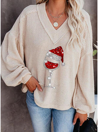 Print Sequins V-Neck Casual Christmas Sweaters