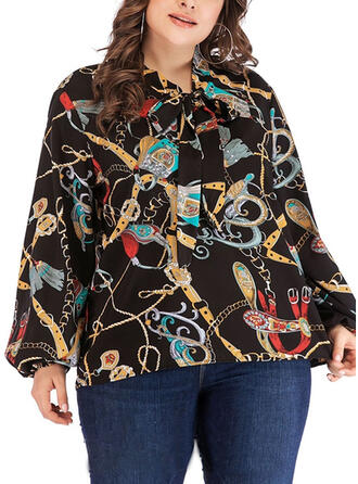 Print Round Neck Long Sleeves Casual Plus Size Blouses