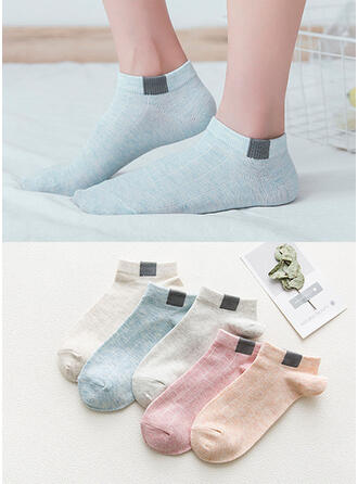 Solid Color Breathable/Ankle Socks Socks (Set of 5 pairs)