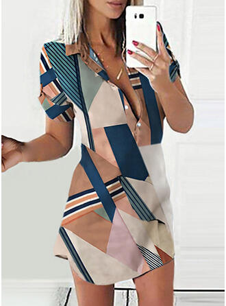Color Block/Striped Short Sleeves Sheath Above Knee Casual Shirt Dresses