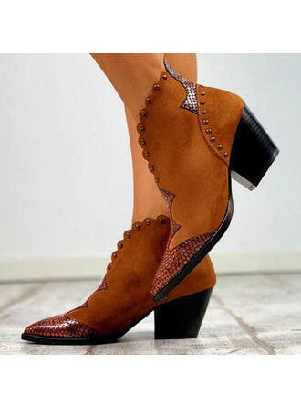 Women's PU Chunky Heel Boots Ankle Boots With Rivet Buckle shoes