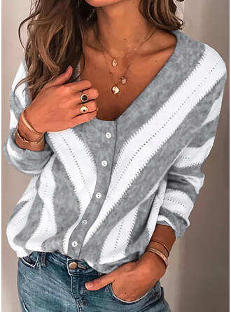 Color Block Striped V-Neck Casual Cardigan