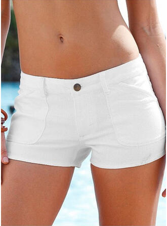 Solid Above Knee Sexy Plus Size Pocket Button Pants Shorts