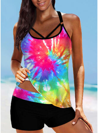 Print Splice color Strap U-Neck Plus Size Boho Tankinis Swimsuits