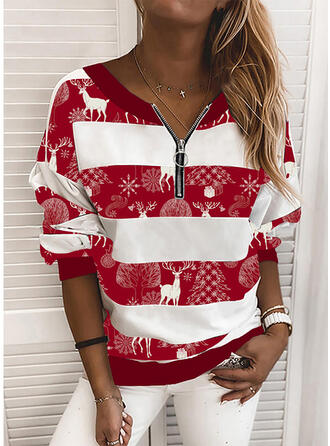 Animal Print V-Neck Long Sleeves Christmas Sweatshirt