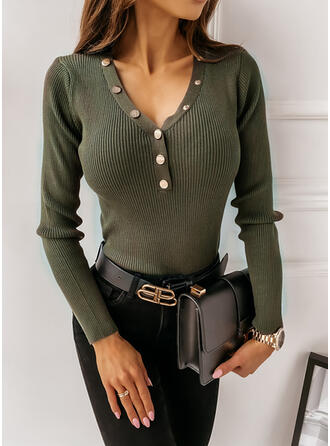 Solid V-Neck Long Sleeves Casual Tight Blouses