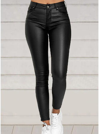 Solid Plus Size Elegant Sexy Leather Pants