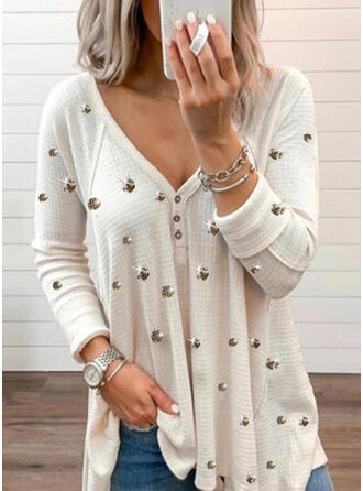 Solid Beaded V-Neck Long Sleeves Button Up Casual Blouses
