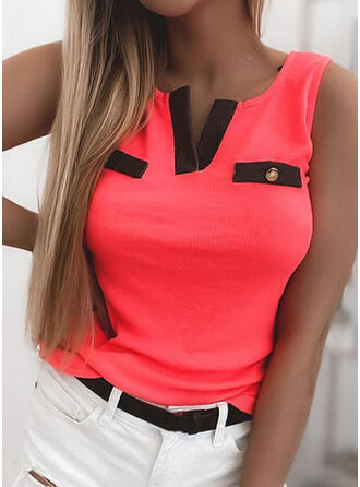 Color Block V-Neck Sleeveless Tank Tops