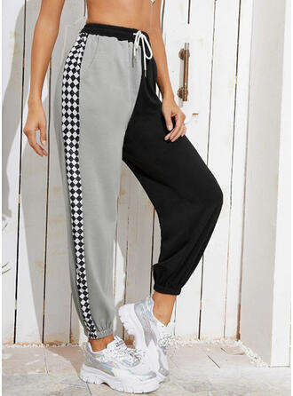 Patchwork Drawstring Long Casual Sporty Pants