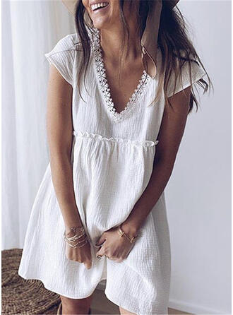 Lace/Solid Short Sleeves Shift Above Knee Casual Tunic Dresses