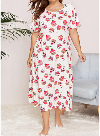 Polyester Print PolkaDot Plus Size Round Neck Short Sleeves Night Dress