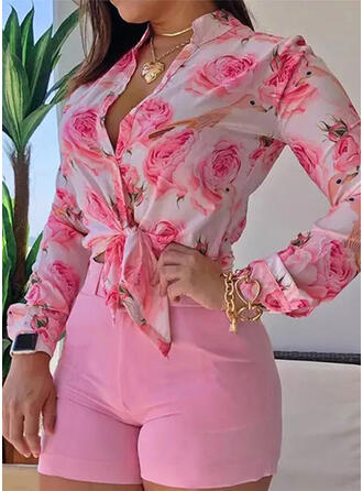 Print Floral Animal V-Neck Long Sleeves Casual Blouses