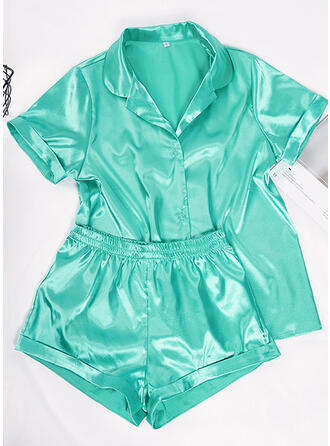 Satin Plain Short Sleeves Alluring Pyjama Set