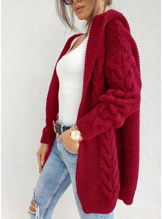 Solid Cable-knit Hooded Casual Cardigan