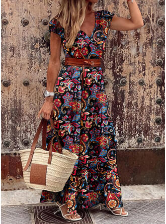 Print Short Sleeves A-line Skater Casual/Boho/Vacation Maxi Dresses