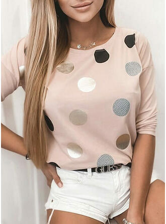 PolkaDot Round Neck Long Sleeves T-shirts