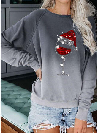 Print Sequins Round Neck Long Sleeves Christmas Sweatshirt