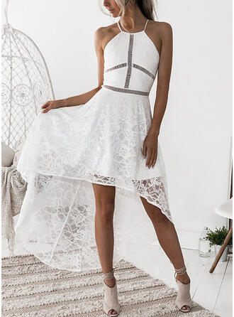 Lace/Solid Sleeveless A-line Asymmetrical Sexy/Party Slip Dresses