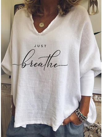 Print Figure V-Neck Batwing Sleeve Casual T-shirts