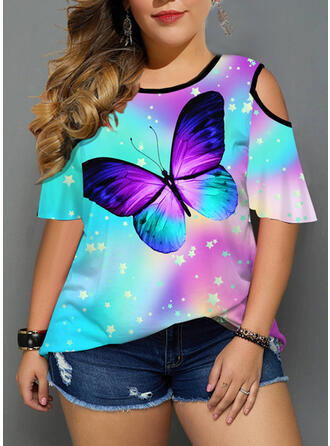 Animal Print Tie Dye Cold Shoulder 1/2 Sleeves Casual Plus Size Blouses