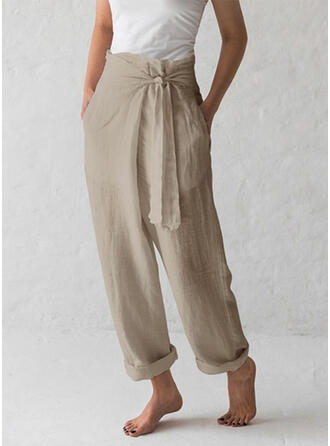 Solid Long Casual Solid Pants