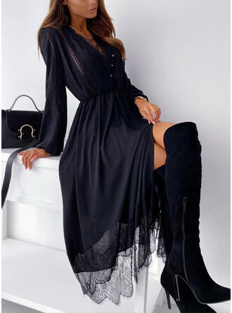 Lace/Solid Long Sleeves A-line Skater Little Black/Casual Midi Dresses