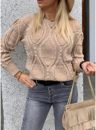 Solid Cable-knit Beaded Round Neck Casual Sweaters