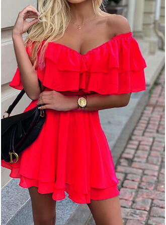 Solid Short Sleeves A-line Above Knee Party Skater Dresses