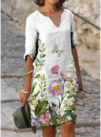 Floral/Animal Print 1/2 Sleeves Shift Knee Length Casual Tunic Dresses
