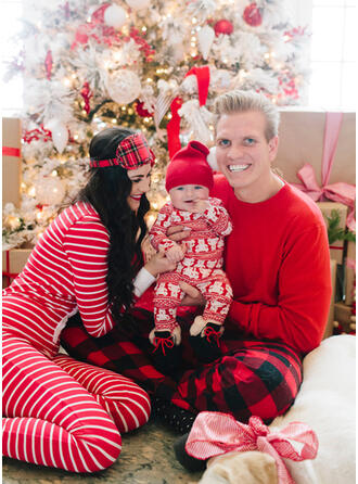 Bear Plaid Striped Family Matching Christmas Pajamas