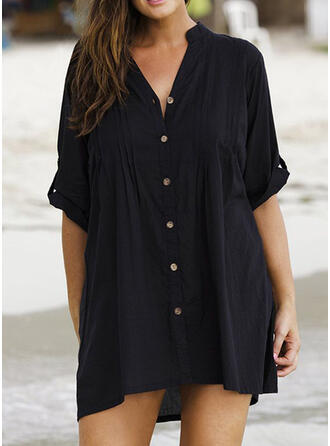 Plus Size Solid 1/2 Sleeves Shift Above Knee Casual Little Black Dress