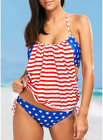 Flag U-Neck Off the Shoulder Attractive Casual Tankinis Swimsuits
