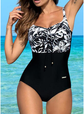 Floral Tropical Print Strap U-Neck Sexy Vintage Classic Plus Size One-piece Swimsuits