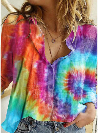 Tie Dye Lapel 3/4 Sleeves Button Up Casual Shirt Blouses