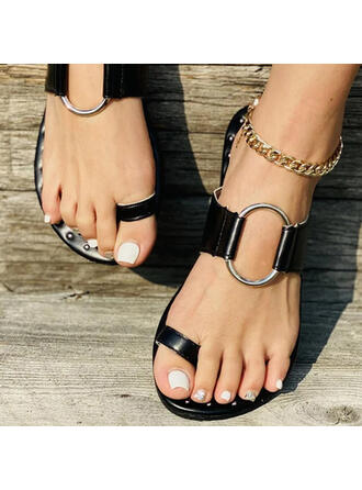 Women's PU Flat Heel Sandals Flats Peep Toe Slippers Toe Ring With Buckle Hollow-out shoes