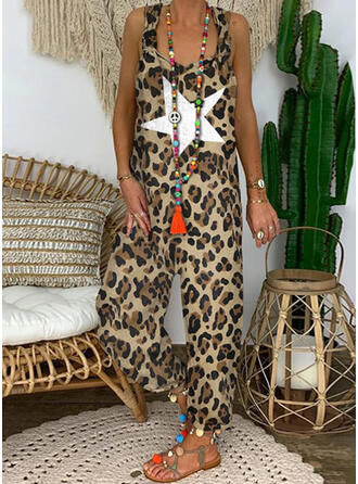 Print Strap Sleeveless Casual Vacation Sexy Jumpsuit