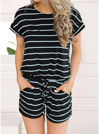 Striped Round Neck Short Sleeves Casual Vacation Jumpsuit