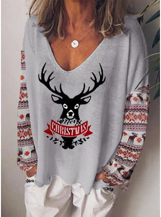 Animal Print V-Neck Long Sleeves Casual Christmas Blouses