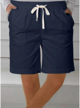 Solid Plus Size Drawstring Above Knee Casual Sporty Shorts