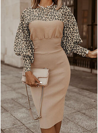 Color Block Leopard Stand Collar Casual Long Tight Sweater Dress