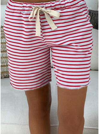 Patchwork Pockets Shirred Plus Size Knee-length Casual Striped Shorts