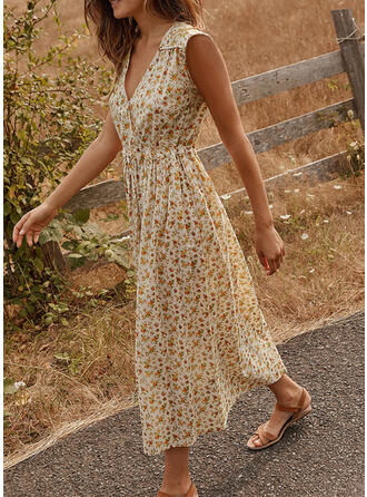 Print/Floral Sleeveless A-line Wrap/Skater Casual/Vacation Maxi Dresses