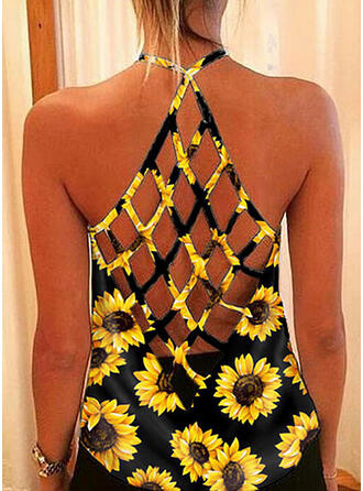 Sunflower Print Round Neck Sleeveless Tank Tops