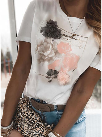 Figure Floral Print Round Neck Short Sleeves T-shirts